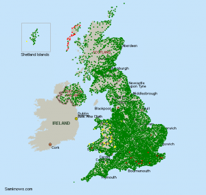 ADSL enabled exchanges in UK.  Source: Samknows
