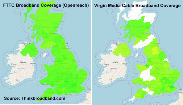 FTTC UK fibre broadband and Virgin Media cable broadband coverage