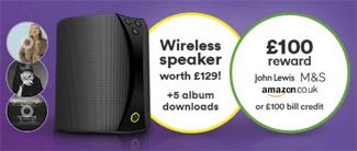 Virgin Media Big Bundles add £100 reward or free WiFi speaker