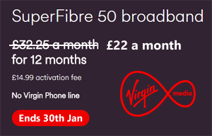Virgin Media drops SuperFibre 50 broadband price to  £22 a month
